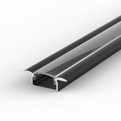 Profil LED Wpuszczany TLD6-1 czarny lakierowany z kloszem transparentnym 2m