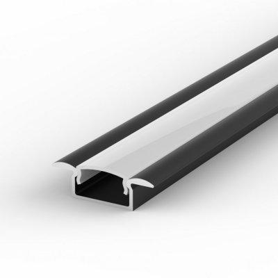 Profil LED Wpuszczany P6-1 czarny lakierowany z kloszem mlecznym 1m