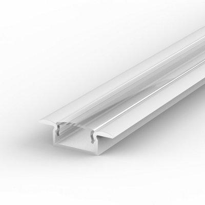 Profil LED Wpuszczany P6-1 biały lakierowany z kloszem transparentnym 2m