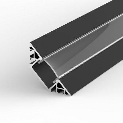Profil LED Wpuszczany, Kątowy TLD7-1 BL z kloszem transparentnym 1m