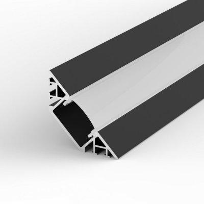 Profil LED Wpuszczany, Kątowy P7-1 czarny lakierowany z kloszem mlecznym 2m