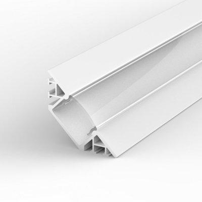 Profil LED Wpuszczany, Kątowy P7-1 biały lakierowany z kloszem transparentnym 2m