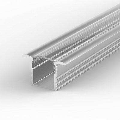 Profil LED Wpuszczany P18-1 anodowany z kloszem transparentnym 1m