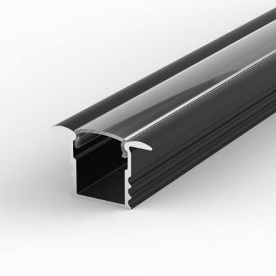 Profil LED Wpuszczany TLD18-1 czarny lakierowany z kloszem transparentnym 1m