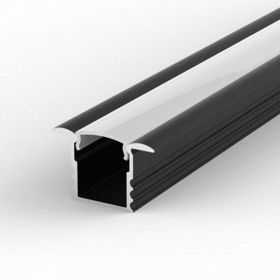 Profil LED Wpuszczany P18-1 czarny lakierowany z kloszem mlecznym 2m