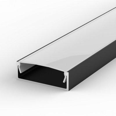 Profil LED Nawierzchniowy P13-1 czarny lakierowany z kloszem mlecznym 2m
