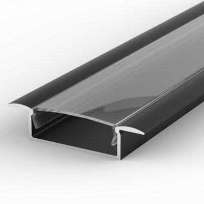Profil LED Wpuszczany TLD14-1 czarny lakierowany z kloszem transparentnym 1m