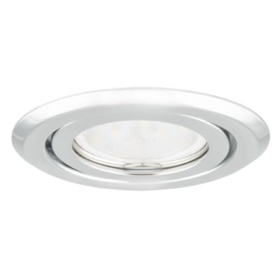 Oprawa sufitowa do wbudowania LED halogenowa dekoracyjna MR16/GU10 okrągła ruchoma tłoczona stal chrom