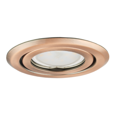 Oprawa sufitowa do wbudowania LED halogenowa dekoracyjna MR16/GU10 okrągła ruchoma tłoczona stal miedź