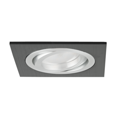 Oprawa sufitowa do wbudowania LED dekoracyjna MR16/GU10 kwadratowa ruchoma aluminiowa czarna