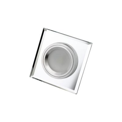 Oprawa sufitowa do wbudowania LED dekoracyjna MR16/GU10 kwadratowa stała szklana przeźroczysta
