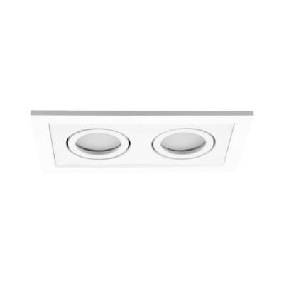 Podwójna oprawa sufitowa do wbudowania dekoracyjna LED 2 x MR16/GU10 prostokątna ruchoma z tworzywa biały