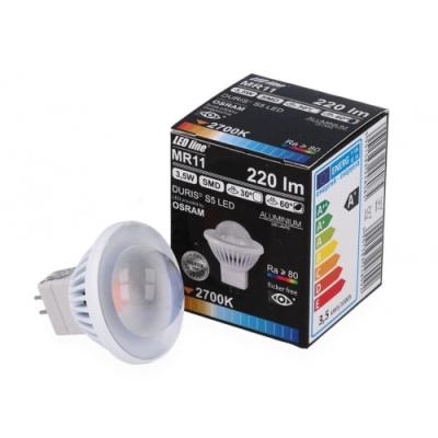 Żarówka LED MR11 SMD 12V DC 3,5W 250lm biała zimna 6000K 30°