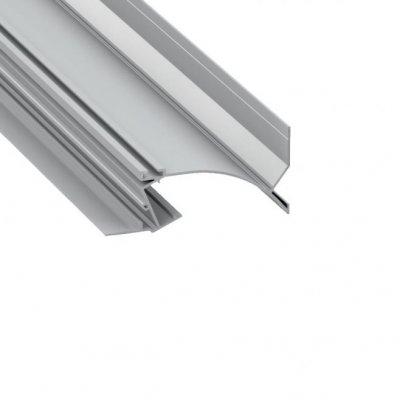 Profil LED architektoniczny konstrukcyjny TOPO AN srebrny anodowany z kloszem mlecznym 1m