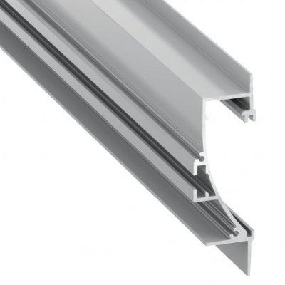 Profil LED architektoniczny wpuszczany przypodłogowy TIANO AN srebrny anodowany z kloszem transparentnym 2m