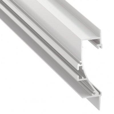 Profil LED architektoniczny wpuszczany przypodłogowy TIANO WH biały lakierowany z kloszem transparentnym 2m