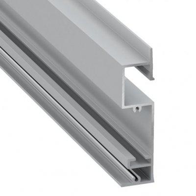 Profil LED architektoniczny wpuszczany przypodłogowy FLARO AN srebrny anodowany z kloszem transparentnym 2m