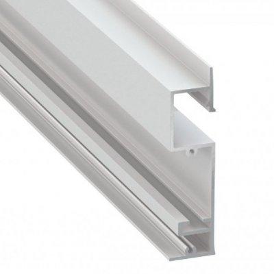Profil LED architektoniczny wpuszczany przypodłogowy FLARO WH biały lakierowany z kloszem transparentnym 2m