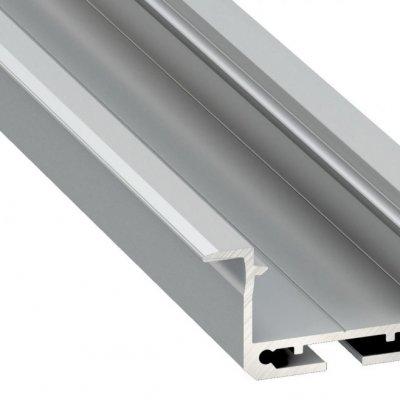 Profil LED architektoniczny wpuszczany inSILEDA AN srebrny anodowany z kloszem mlecznym 2m