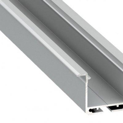 Profil LED architektoniczny wpuszczany inDILEDA AN srebrny anodowany z kloszem transparentnym 2m