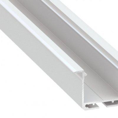 Profil LED architektoniczny wpuszczany inDILEDA WH biały lakierowany z kloszem transparentnym 1m