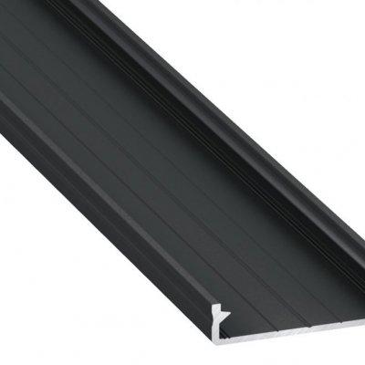 Profil LED architektoniczny napowierzchniowy SOLIS BL czarny anodowany z kloszem transparentnym 1m