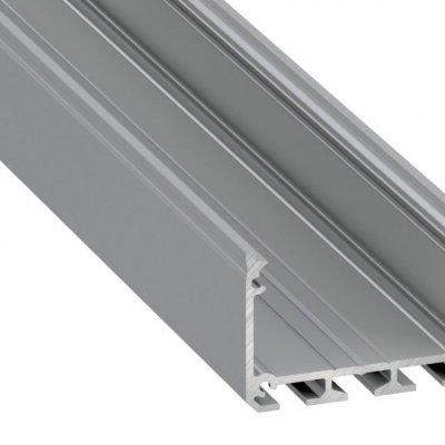 Profil LED architektoniczny napowierzchniowy ILEDO AN srebrny anodowany z kloszem mlecznym 2m