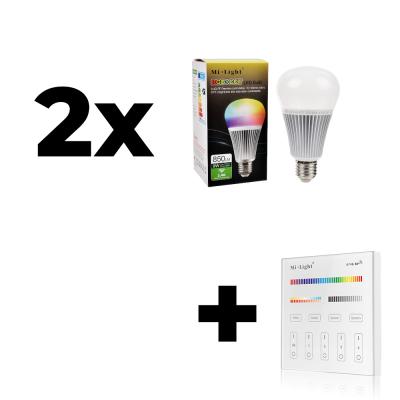 Zestaw 2x Mi-Light E27 9W RGB+CCT + panel ścienny