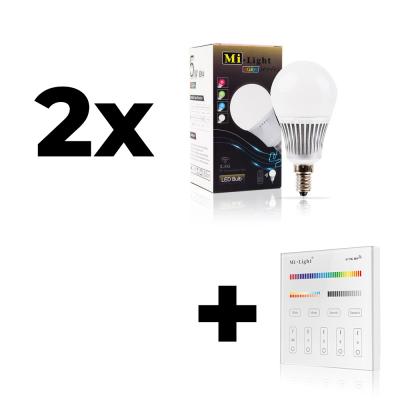 Zestaw Mi-Light 2x E14 5W RGB+CCT + panel ścienny