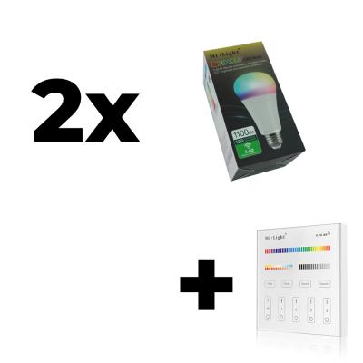 Zestaw Mi-Light 2x E27 12W RGB+CCT + panel ścienny