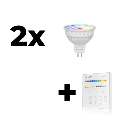 Zestaw Mi-Light 2x MR16 4W RGB+CCT + panel ścienny