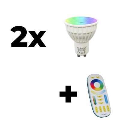 Zestaw Mi-Light 2x GU10 4W RGB+CCT + pilot