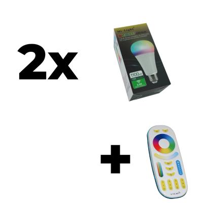 Zestaw Mi-Light 2x E27 12W RGB+CCT + pilot