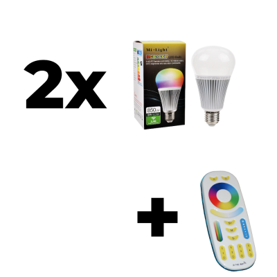 Zestaw Mi-Light 2x E27 9W RGB+CCT + pilot