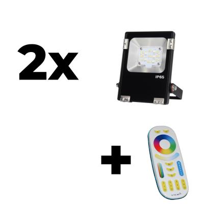 Zestaw Mi-Light 2x Naświetlacz 10W 230V RGB+CCT + pilot