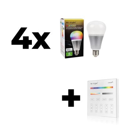Zestaw 4x Mi-Light E27 9W RGB+CCT + panel ścienny