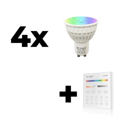 Zestaw Mi-Light 4x GU10 4W RGB+CCT + panel ścienny