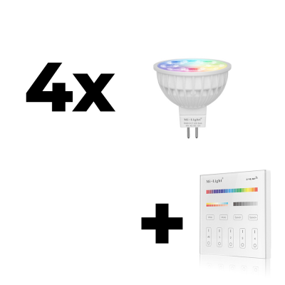 Zestaw Mi-Light 4x MR16 4W RGB+CCT + panel ścienny