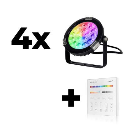 Zestaw Mi-Light 4x Lampa ogrodowa 9W 230V RGB+CCT + panel ścienny