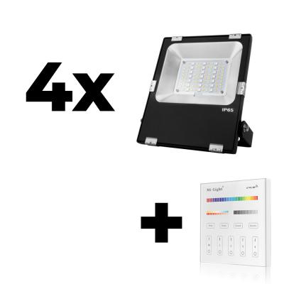 Zestaw Mi-Light 4x Naświetlacz 30W 230V RGB+CCT + panel ścienny