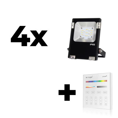 Zestaw Mi-Light 4x Naświetlacz 10W 230V RGB+CCT + panel ścienny