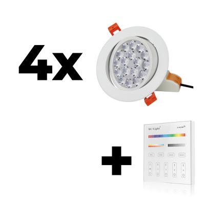 Zestaw Mi-Light 4x Oprawa sufitowa 9W regulowana RGB+CCT + panel ścienny