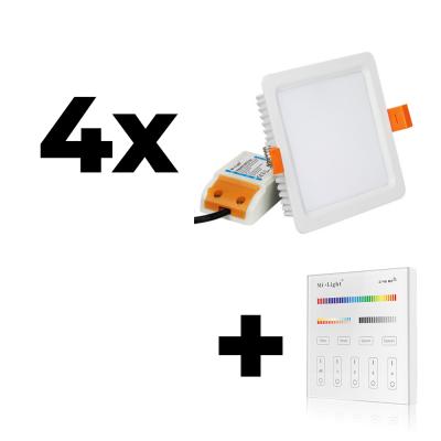 Zestaw Mi-Light 4x Oprawa sufitowa 9W kwadratowa RGB+CCT + panel ścienny