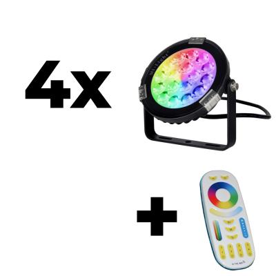 Zestaw Mi-Light 4x Lampa ogrodowa 9W 24V RGB+CCT + pilot