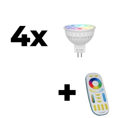 Zestaw Mi-Light 4x MR16 4W RGB+CCT + pilot