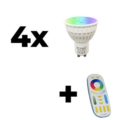 Zestaw Mi-Light 4x GU10 4W RGB+CCT + pilot