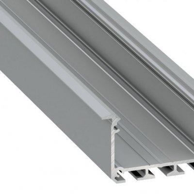 Profil LED architektoniczny wpuszczany INSO AN srebrny anodowany z kloszem mlecznym 2m