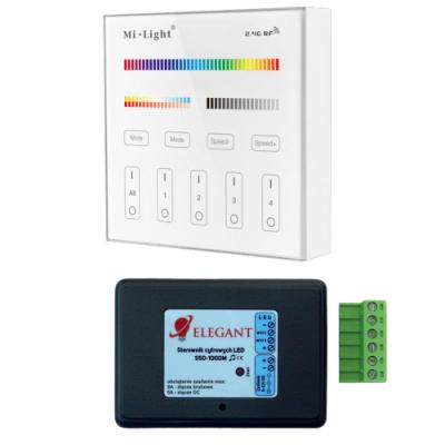 Sterownik taśm cyfrowych RGB muzyczny 1000m + panel szklany 4 strefy Mi-Light