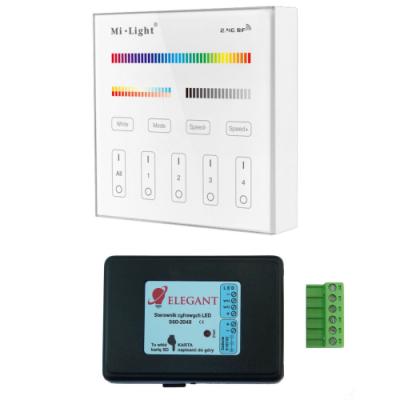 Sterownik taśm cyfrowych na kartę SD + panel szklany 4 strefy Mi-Light