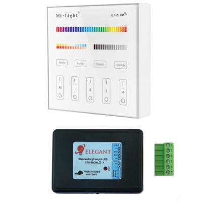 Sterownik taśm cyfrowych RGBW muzyczny jack 800m + panel szklany 4 strefy Mi-Light